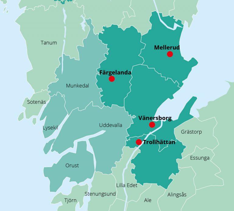 Karta som visar NÄRF:s fyra medlemskommuner Färgelanda, Mellerud, Trollhättan och Vänersborg. Även övriga kommuner för den gemensamma ledningscentralen är markerade: Lysekil, Munkedal, Orust och Uddevalla.