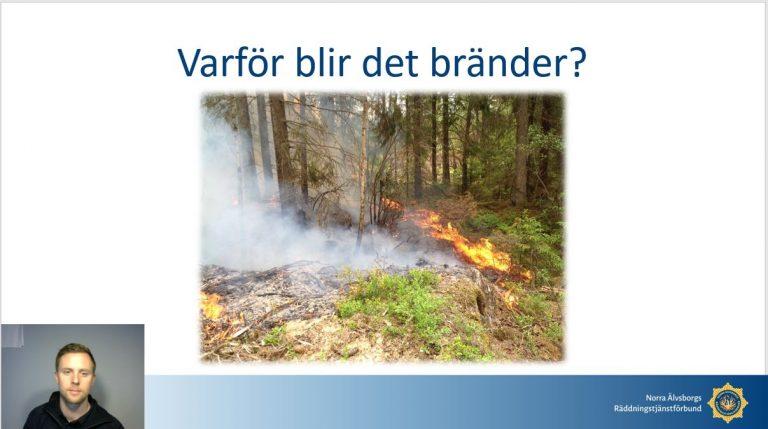 Bild från bildspel i utbildningsmaterialet för årskurs 5. Rubrik: Varför blir det bränder? samt en bild med en mindre brand i skogsområde.