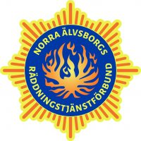 NÄRF:s logotyp är utformad som en stjärna med åtta uddar och texten Norra Älvsborgs Räddningstjänstförbund invävt i mitten.
