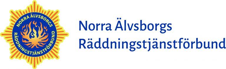 NÄRF:s logotyp med texten Norra Älvsborgs Räddningstjänstförbund bredvid till höger.